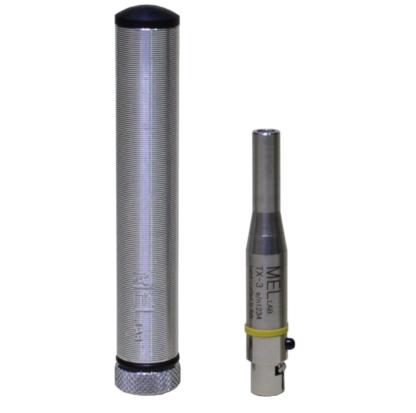 Microfono da misura a condensatore pre-polarizzato omnidirezionale, per sistemi radio, fatto a mano in Italia, con anello colorato di riconoscimento e con connettore TA4F, con il suo case stagno