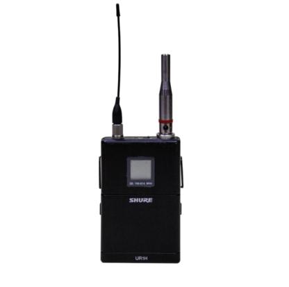 Microfono da misura a condensatore pre-polarizzato omnidirezionale, per sistemi radio, fatto a mano in Italia, con anello colorato di riconoscimento e con connettore TA4F, su bodypack SHURE UR1H