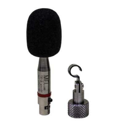 Microfono da misura a condensatore pre-polarizzato omnidirezionale, per sistemi radio, fatto a mano in Italia, con anello colorato di riconoscimento e con connettore TA4F, con foam antivento e clip reggi microfono MH-2